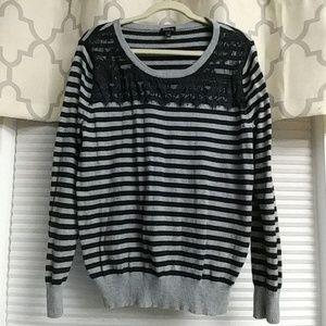 Torrid gray and black stripe sweater.